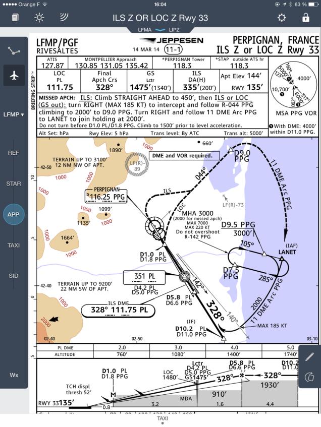JeppFD: exemple d'une carte d'approche ILS à LFMP